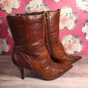Nine West Stiletto Bootie Brown Leather 9 Heel